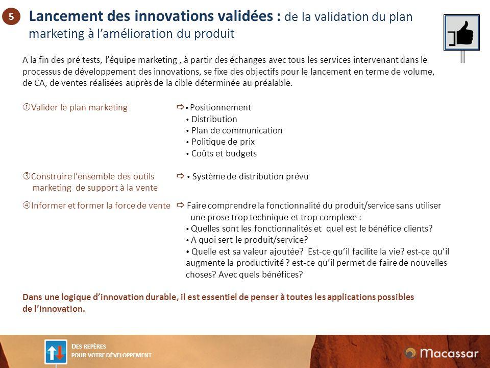 Lancement des innovations validées : de la validation du plan marketing à l'amélioration du produit