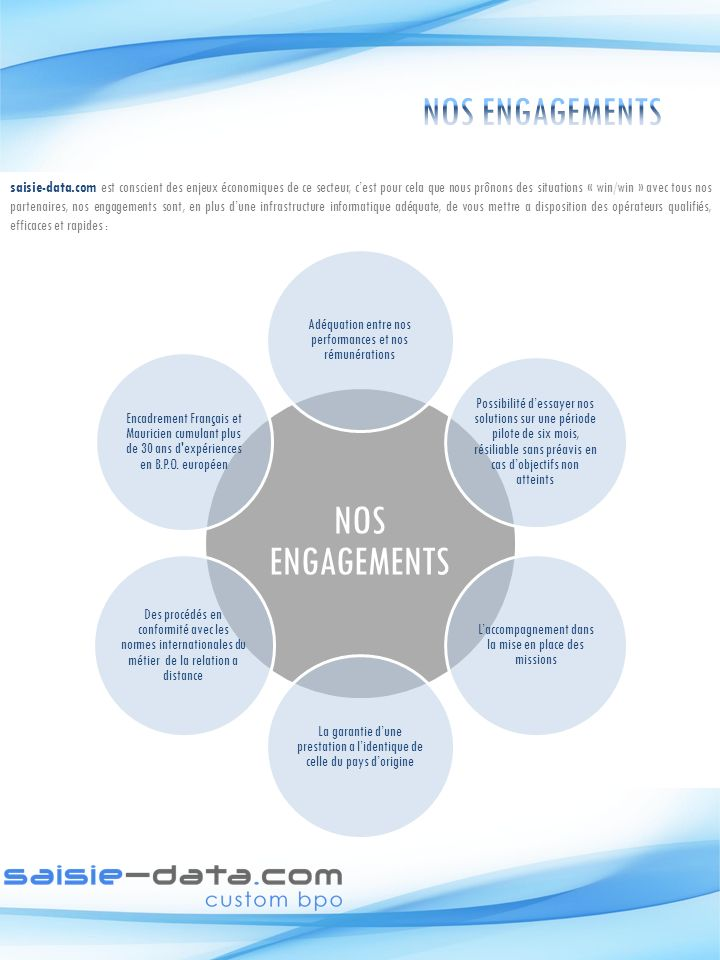 NOS ENGAGEMENTS NOS ENGAGEMENTS