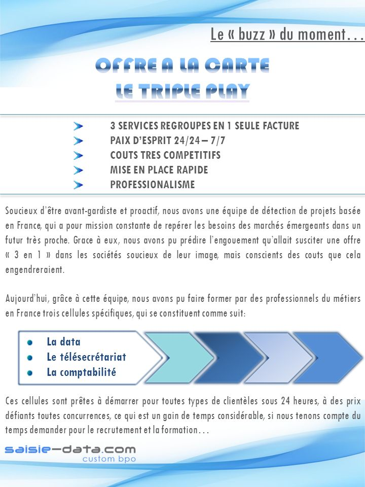 OFFRE A LA CARTE LE TRIPLE PLAY
