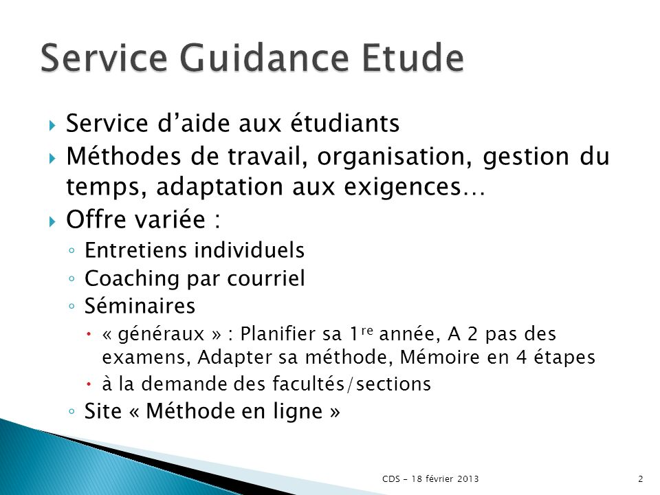 Service Guidance Etude