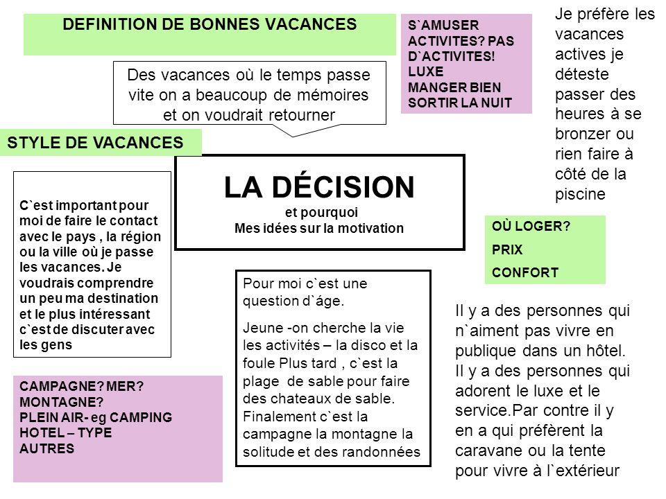 LA DÉCISION et pourquoi Mes idées sur la motivation