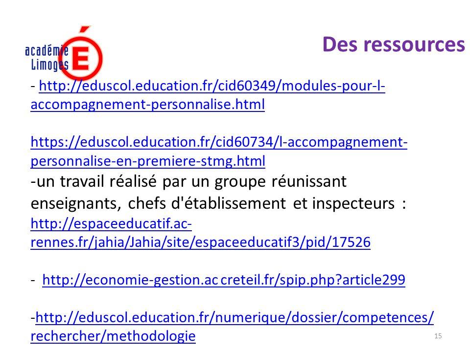 Des ressources http://eduscol.education.fr/cid60349/modules-pour-l-accompagnement-personnalise.html.
