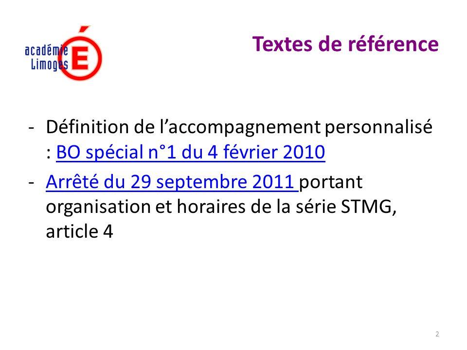 Textes de référence Définition de l'accompagnement personnalisé : BO spécial n°1 du 4 février 2010.
