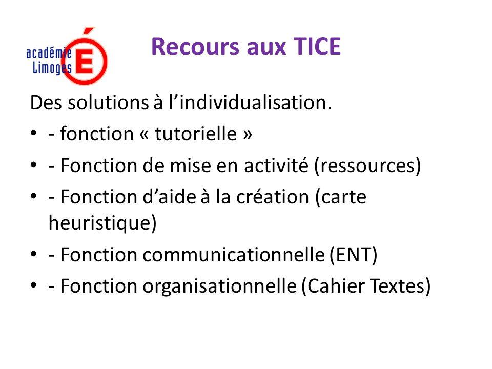 Recours aux TICE Des solutions à l'individualisation.
