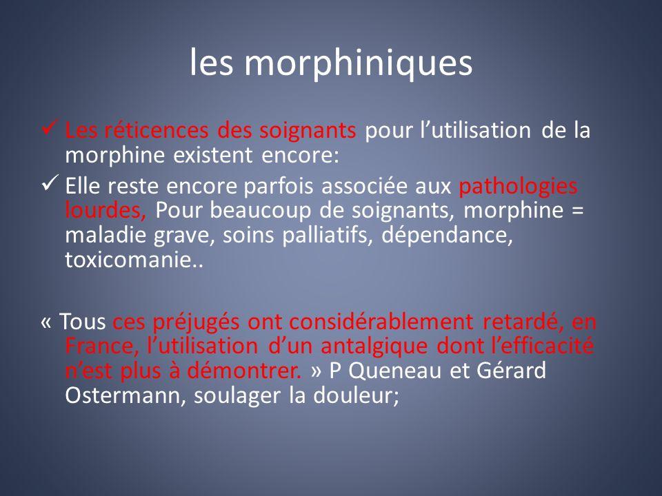 les morphiniques Les réticences des soignants pour l'utilisation de la morphine existent encore: