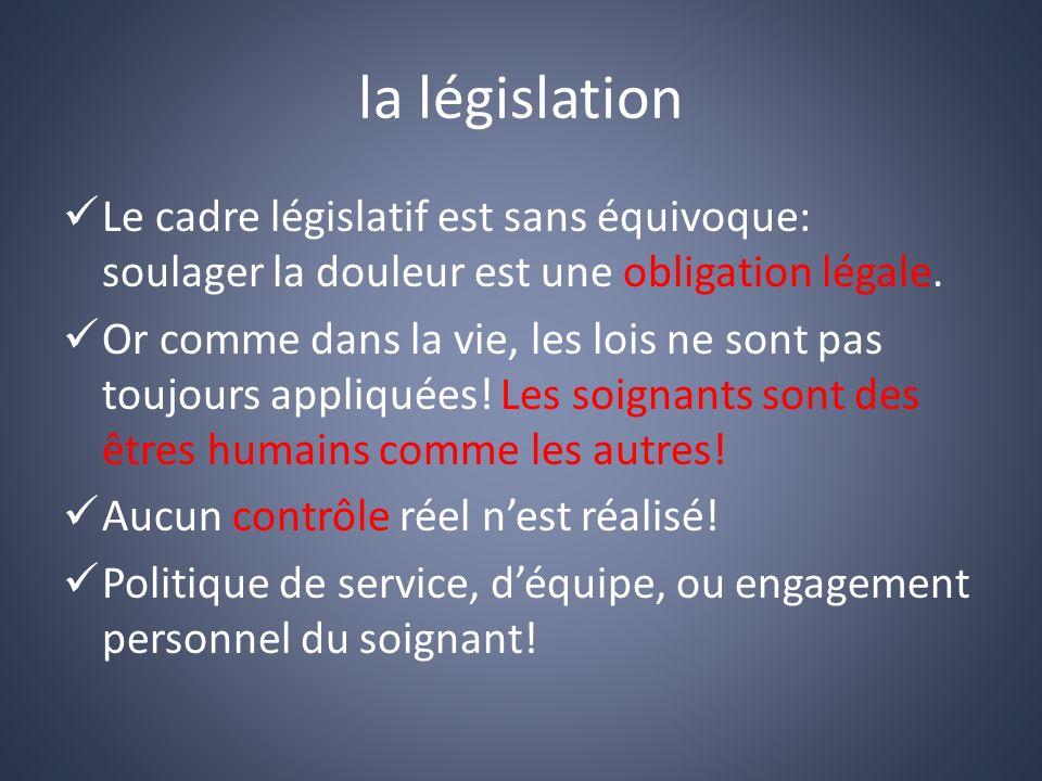 la législation Le cadre législatif est sans équivoque: soulager la douleur est une obligation légale.