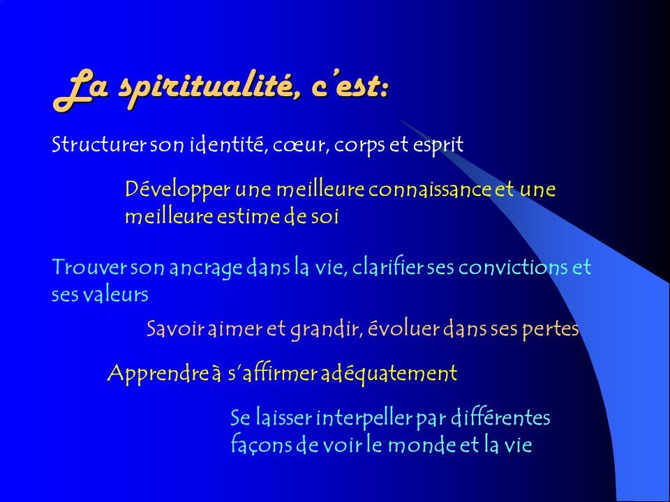 La spiritualité, c'est:
