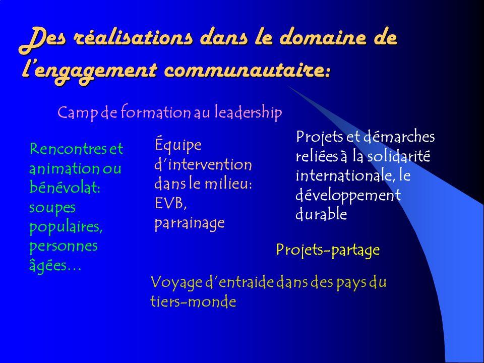 Des réalisations dans le domaine de l'engagement communautaire: