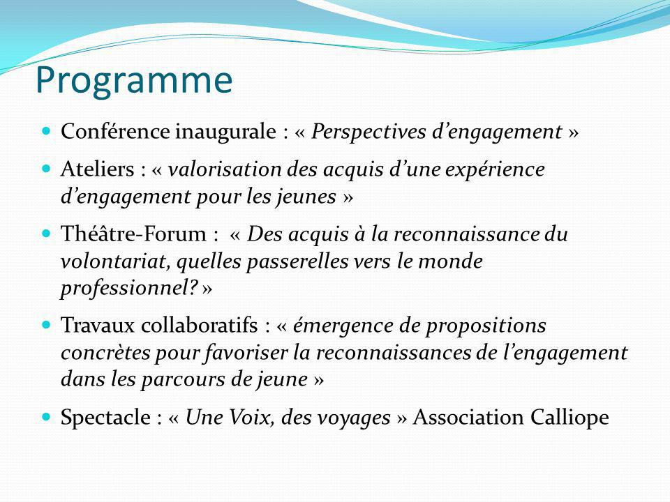 Programme Conférence inaugurale : « Perspectives d'engagement »