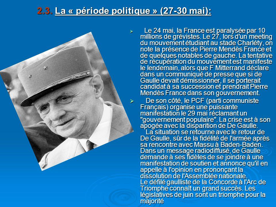 2.3. La « période politique » (27-30 mai):