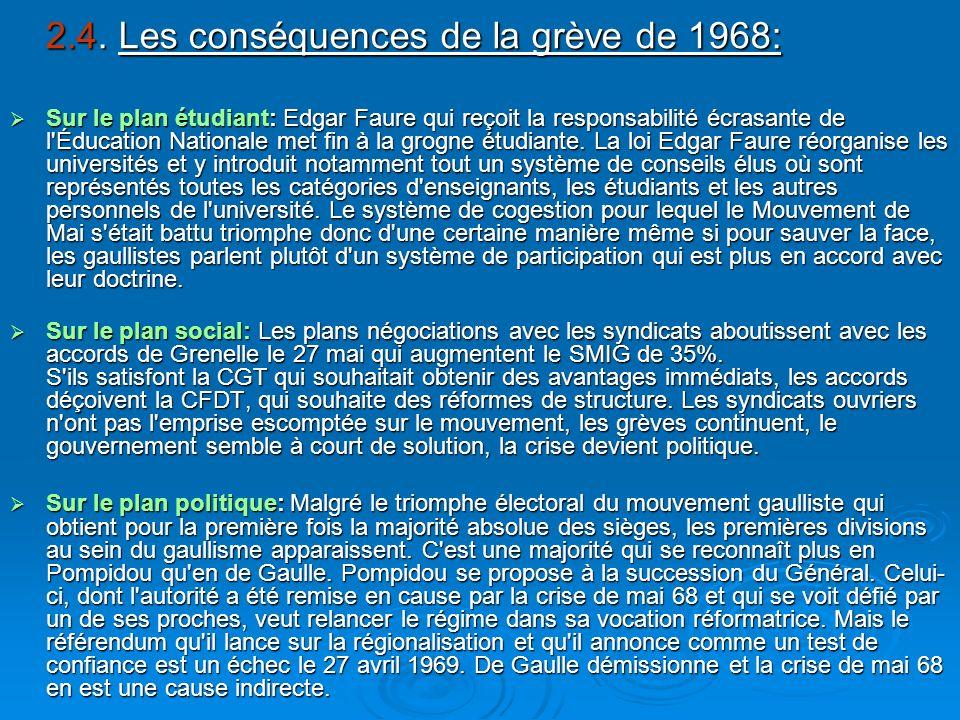 2.4. Les conséquences de la grève de 1968: