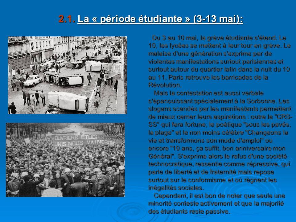 2.1. La « période étudiante » (3-13 mai):