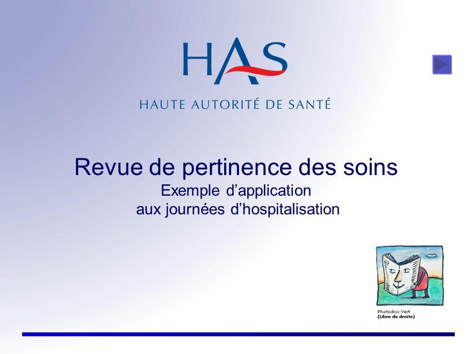 Revue de pertinence des soins Exemple d'application aux journées d'hospitalisation