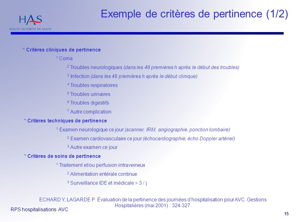 Exemple de critères de pertinence (1/2)