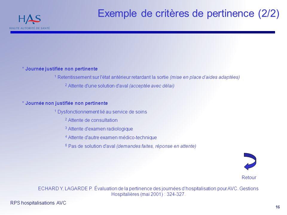 Exemple de critères de pertinence (2/2)