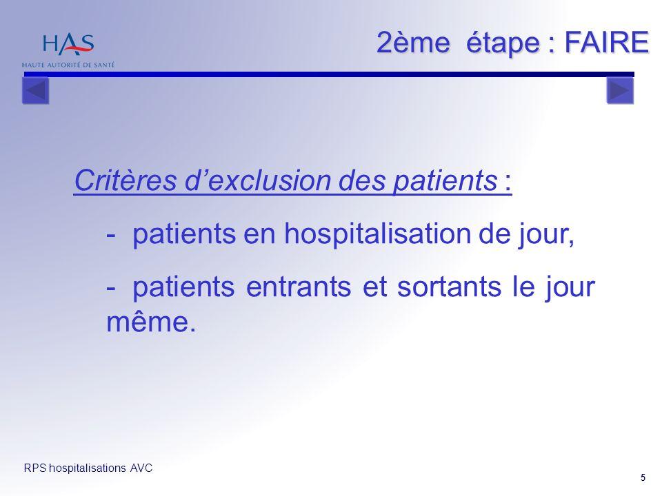 2ème étape : FAIRE Critères d'exclusion des patients :
