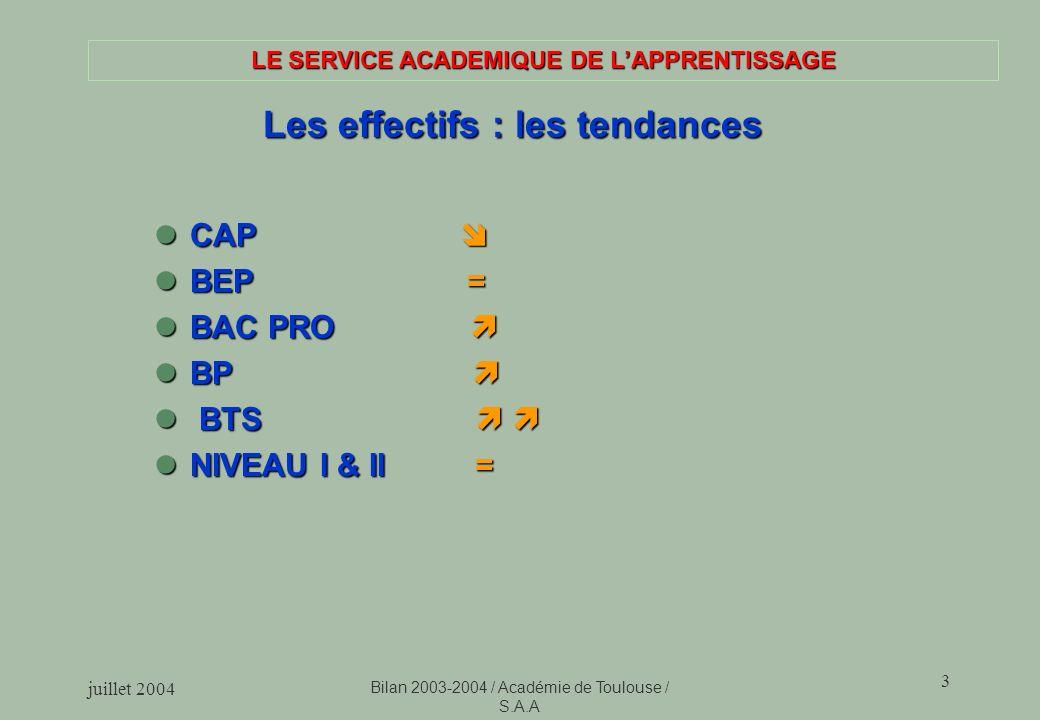 LE SERVICE ACADEMIQUE DE L'APPRENTISSAGE Les effectifs : les tendances