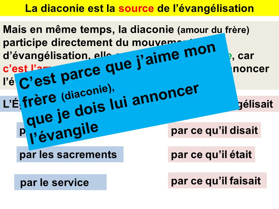 La diaconie est la source de l'évangélisation
