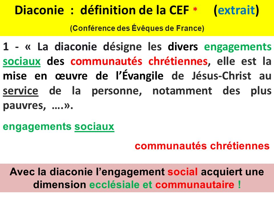 Diaconie : définition de la CEF