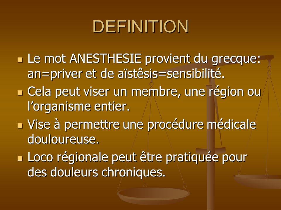 DEFINITION Le mot ANESTHESIE provient du grecque: an=priver et de aïstêsis=sensibilité. Cela peut viser un membre, une région ou l'organisme entier.