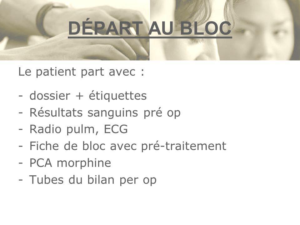 DÉPART AU BLOC Le patient part avec : dossier + étiquettes