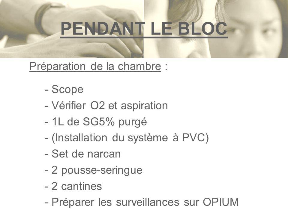 PENDANT LE BLOC Préparation de la chambre : - Scope