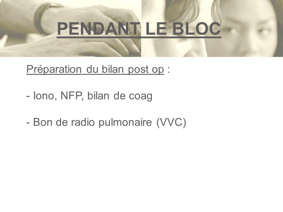 PENDANT LE BLOC Préparation du bilan post op :