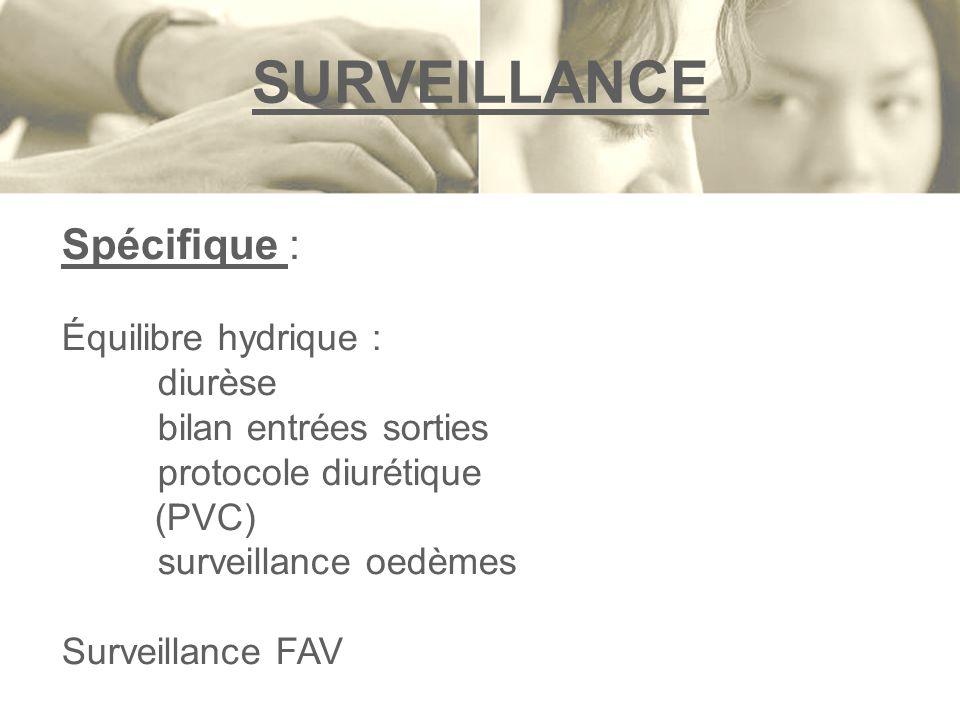 SURVEILLANCE Spécifique : Équilibre hydrique : diurèse