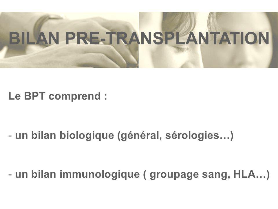 BILAN PRE-TRANSPLANTATION