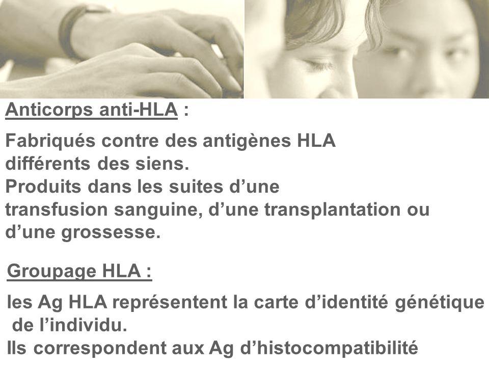 Anticorps anti-HLA : Fabriqués contre des antigènes HLA. différents des siens. Produits dans les suites d'une.