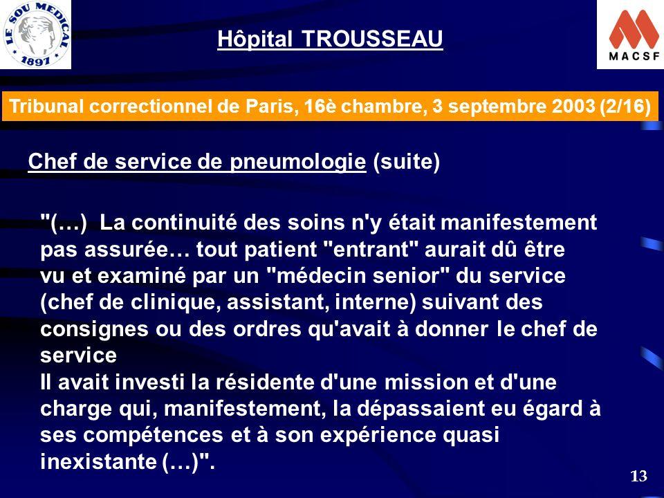 Hôpital TROUSSEAU Chef de service de pneumologie (suite)