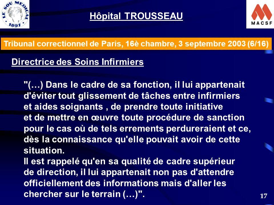 Hôpital TROUSSEAU Directrice des Soins Infirmiers