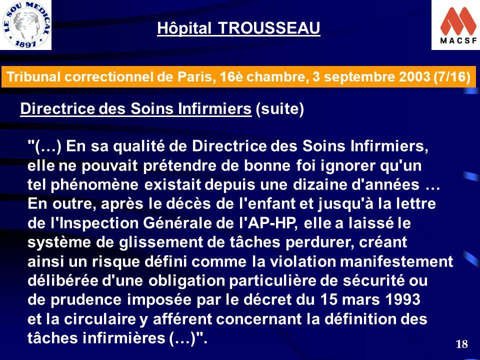 Hôpital TROUSSEAU Directrice des Soins Infirmiers (suite)