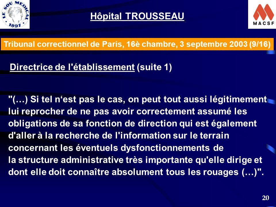 Hôpital TROUSSEAU Directrice de l établissement (suite 1)