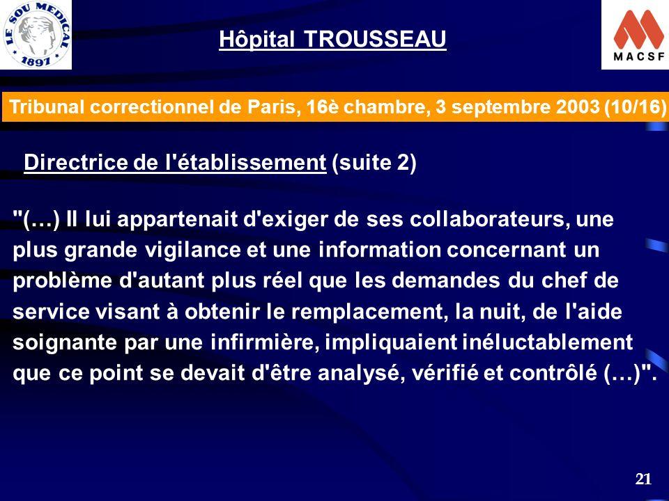Hôpital TROUSSEAU Directrice de l établissement (suite 2)