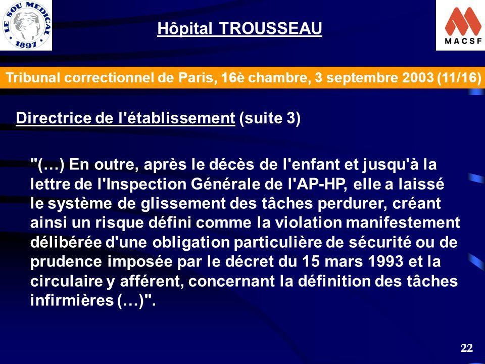 Hôpital TROUSSEAU Directrice de l établissement (suite 3)