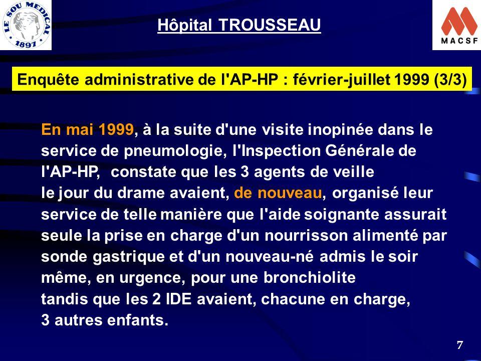 Hôpital TROUSSEAU Enquête administrative de l AP-HP : février-juillet 1999 (3/3) En mai 1999, à la suite d une visite inopinée dans le.