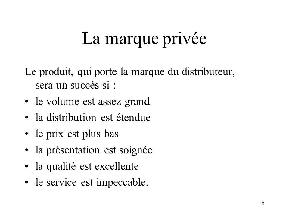 La marque privée Le produit, qui porte la marque du distributeur, sera un succès si : le volume est assez grand.