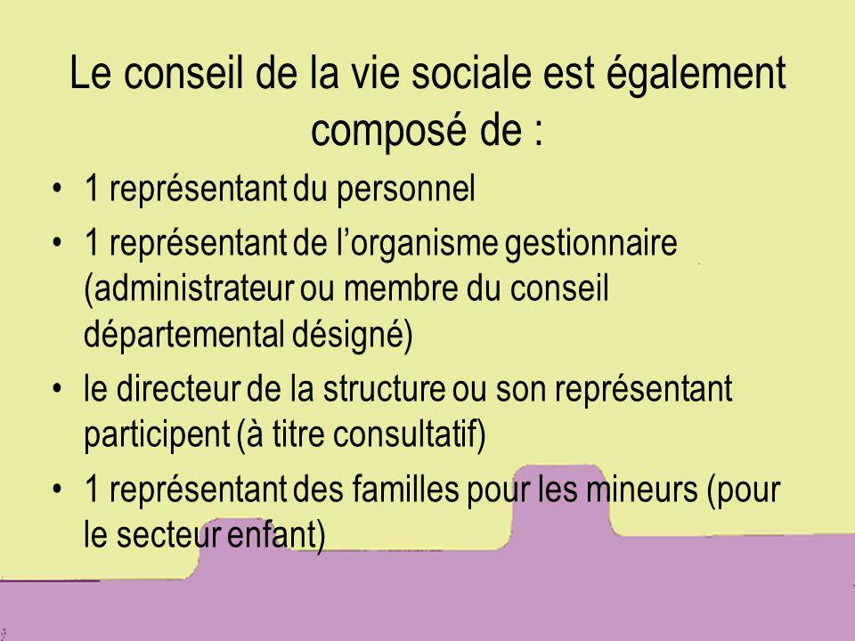 Le conseil de la vie sociale est également composé de :