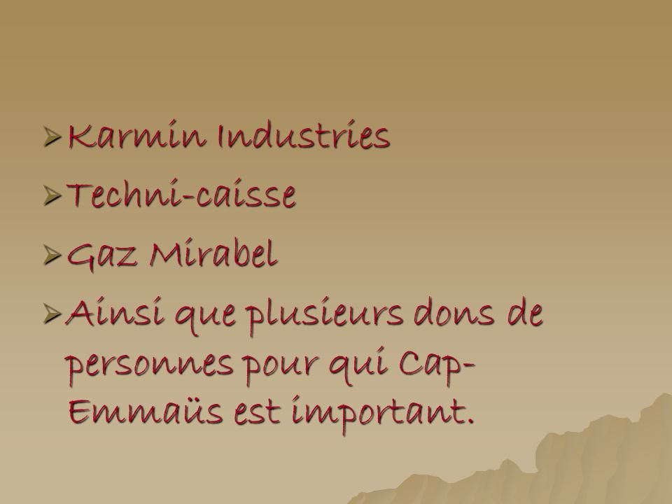 Karmin Industries Techni-caisse. Gaz Mirabel.