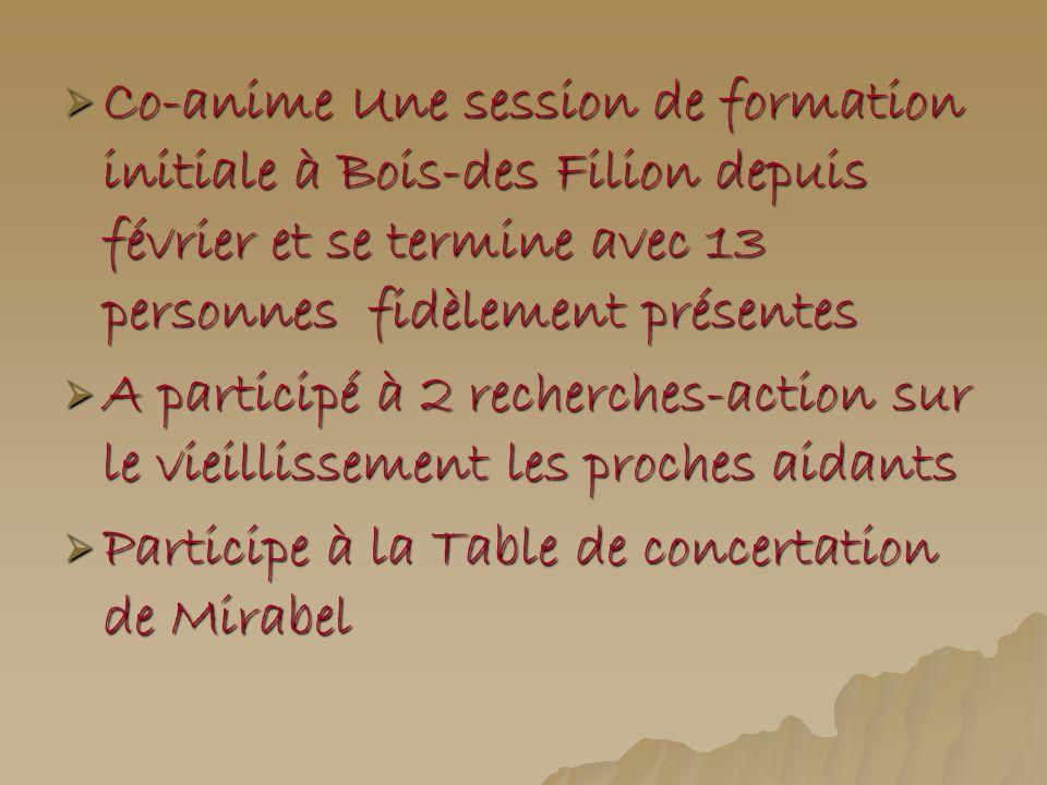 Co-anime Une session de formation initiale à Bois-des Filion depuis février et se termine avec 13 personnes fidèlement présentes