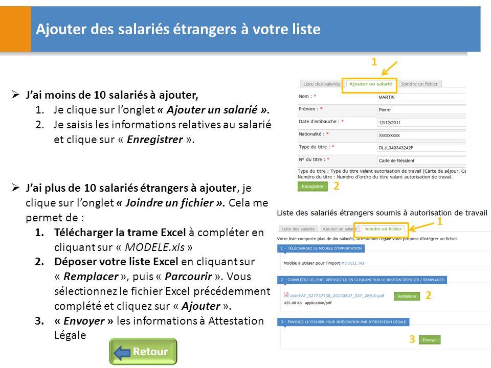 Ajouter des salariés étrangers à votre liste