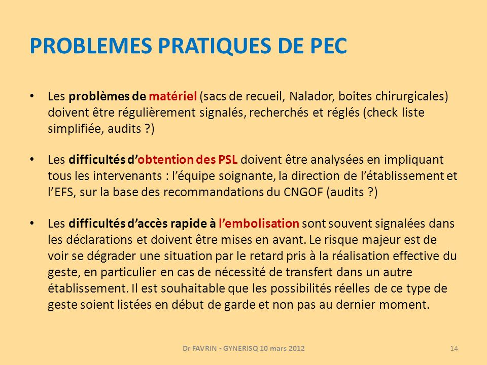 PROBLEMES PRATIQUES DE PEC