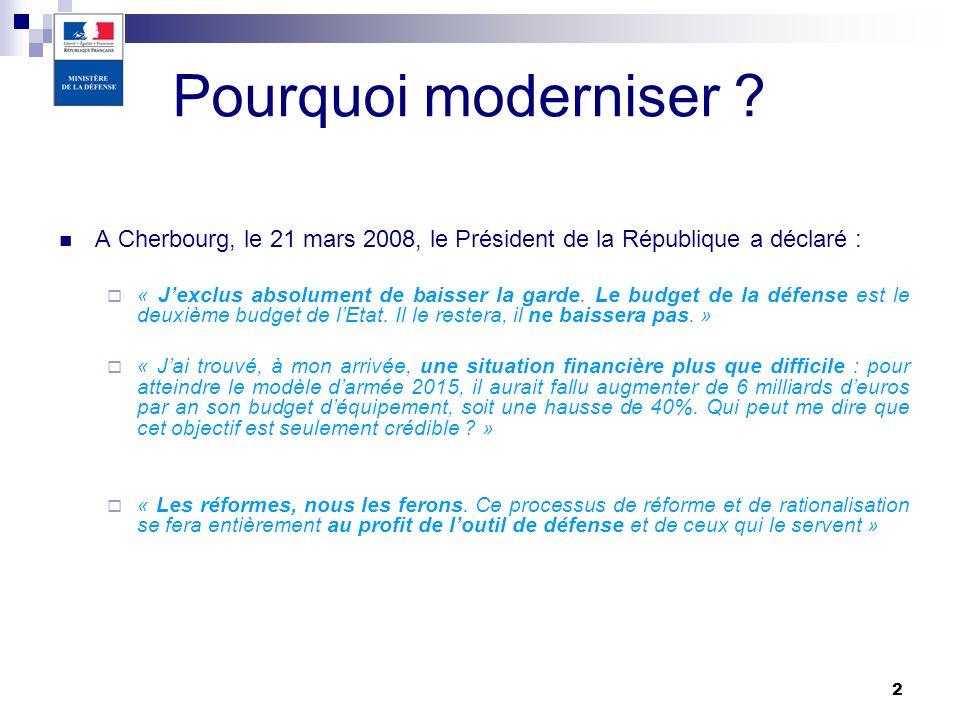 30/03/2017 Pourquoi moderniser A Cherbourg, le 21 mars 2008, le Président de la République a déclaré :