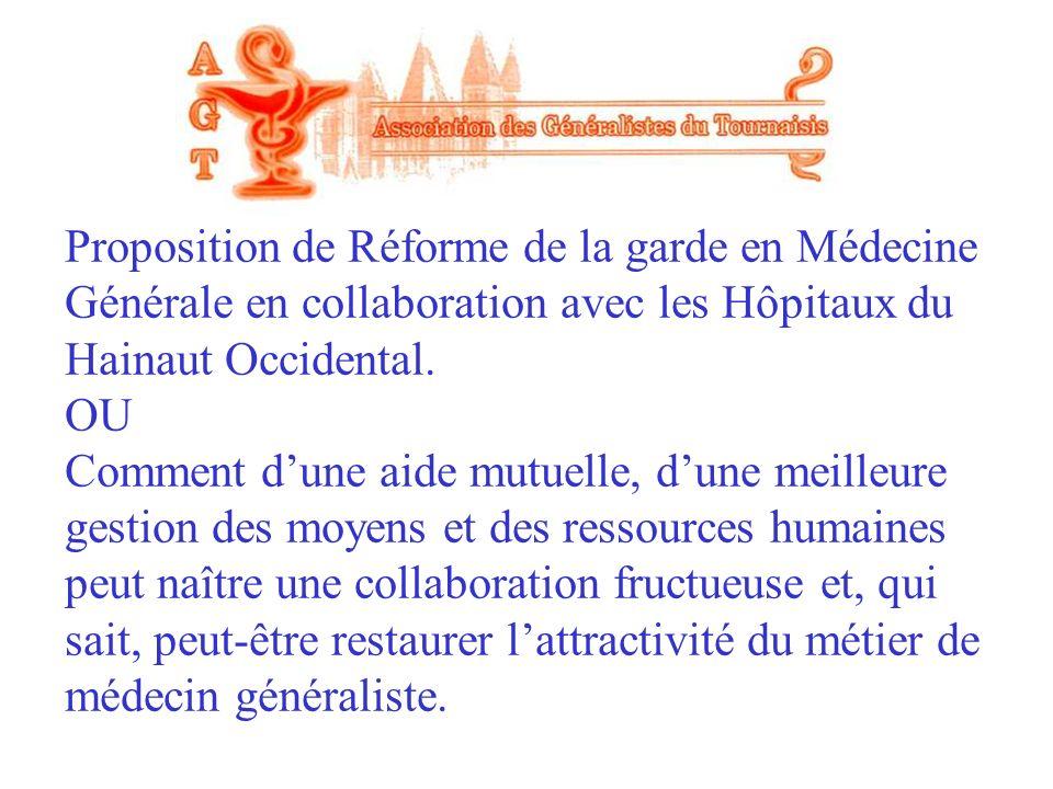 Proposition de Réforme de la garde en Médecine Générale en collaboration avec les Hôpitaux du Hainaut Occidental.