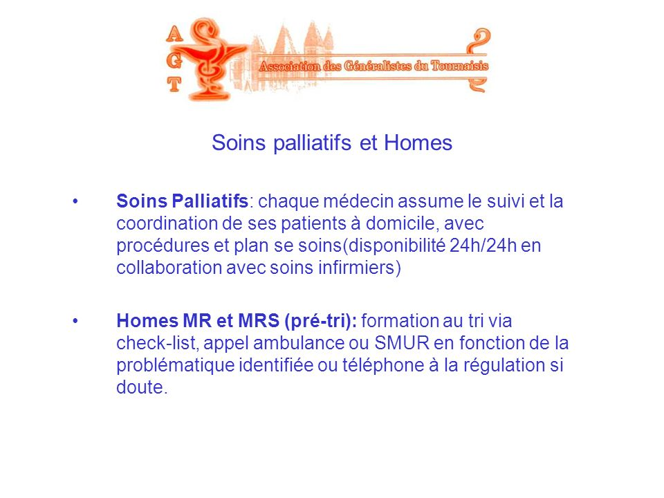 Soins palliatifs et Homes
