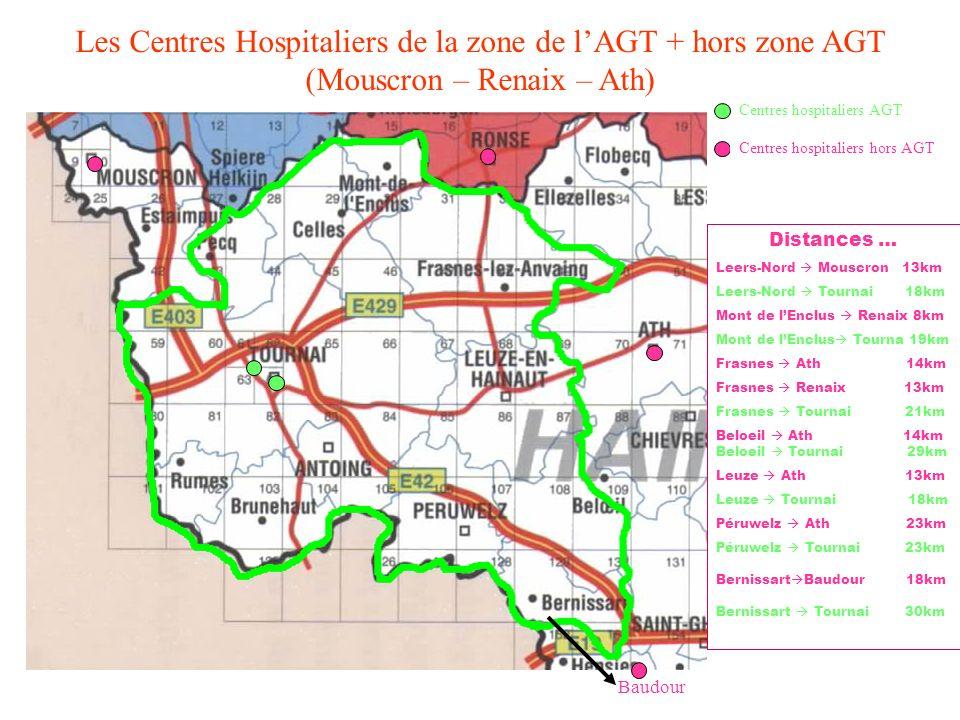 Les Centres Hospitaliers de la zone de l'AGT + hors zone AGT (Mouscron – Renaix – Ath)