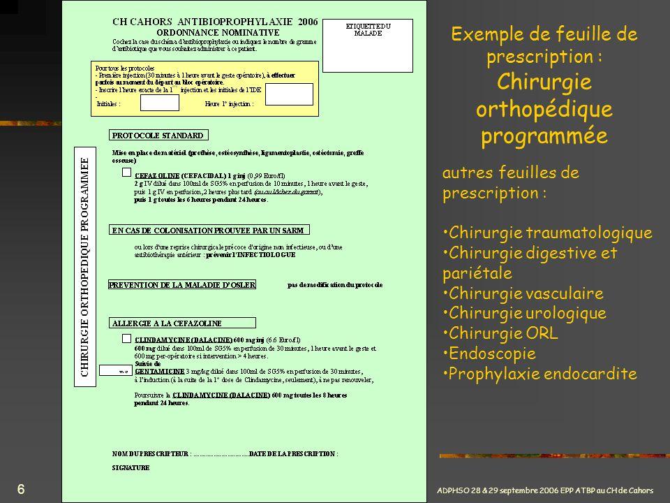 Exemple de feuille de prescription : Chirurgie orthopédique programmée
