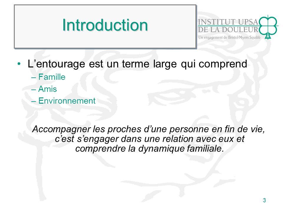 Introduction L'entourage est un terme large qui comprend