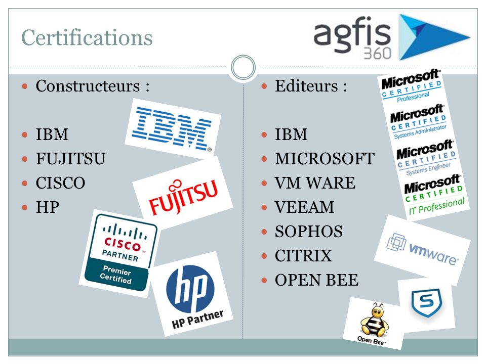 Certifications Constructeurs : Ibm Fujitsu Cisco HP Editeurs : IBM